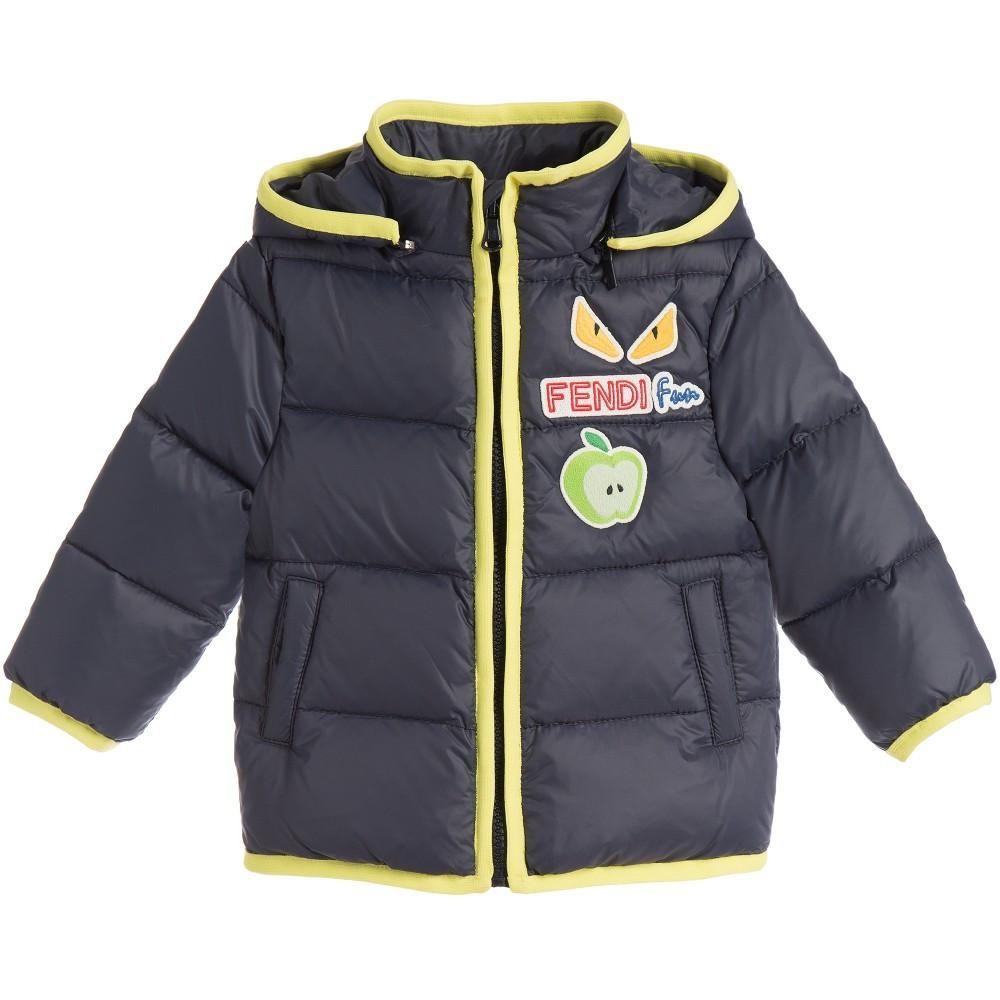 40c9250b9733 Fendi Baby Boys Navy Green Puffer Jacket