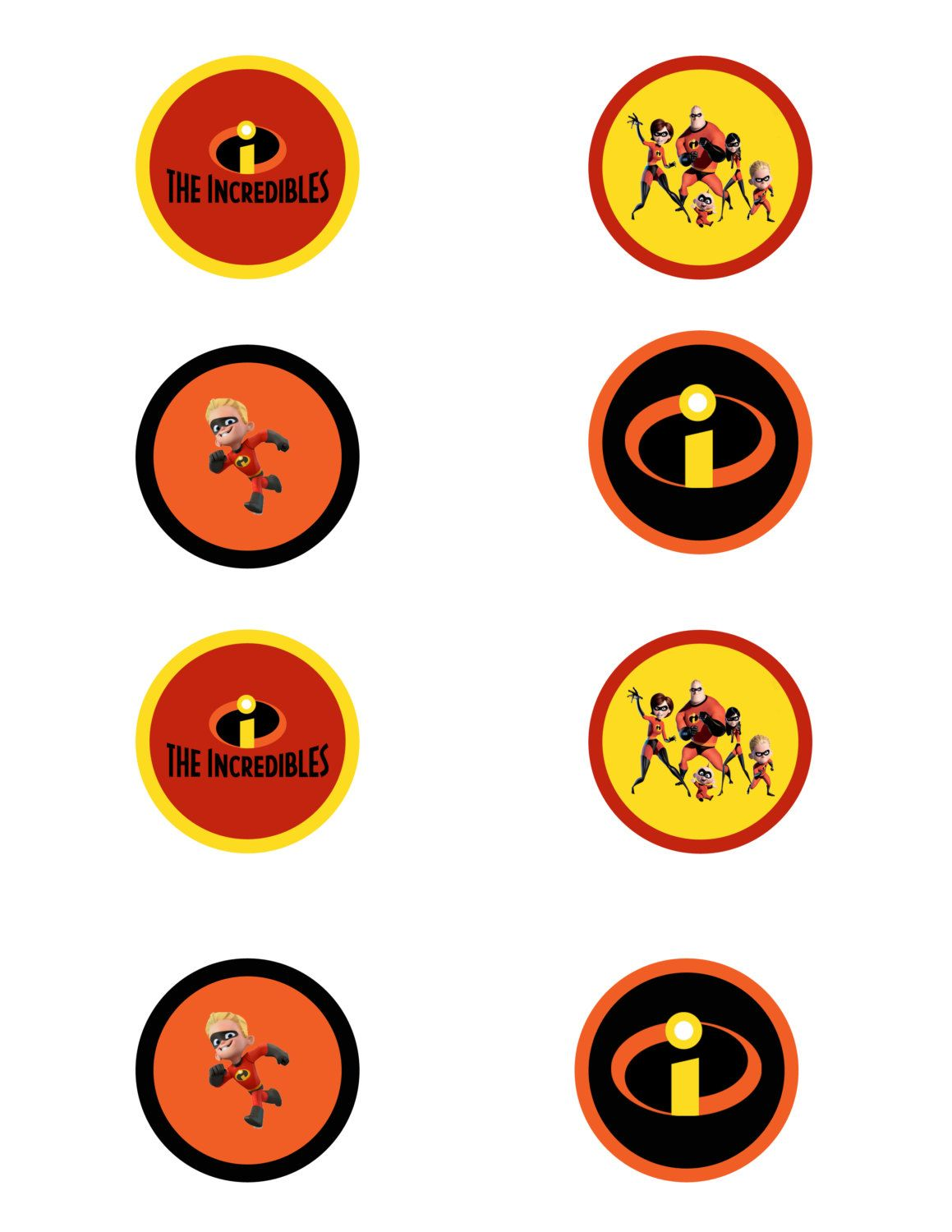 The Incredibles movie cupcake toppers, The Incredibles