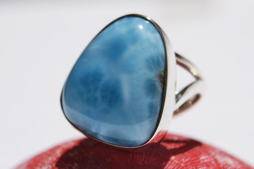 NEW DOMINICAN AA+ MARBLED FREE-SHAPED LARIMAR STONE SILVER RING SIZE 8.5 JEWELRY #DominicanLarimarStone #FashionRing