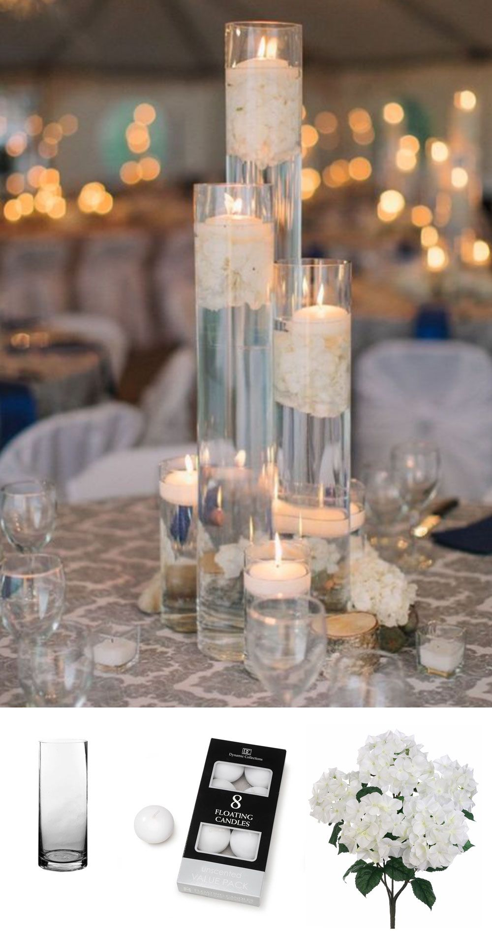 Easy submersible centerpiece idea get all the supplies you need at create wedding centerpieces with submersible fake flowers are perfect for a simple elegant centerpiece mightylinksfo
