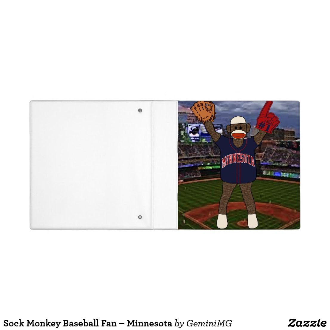 Sock Monkey Baseball Fan – Minnesota 3 Ring Binder | Zazzle.com #sockmoneky