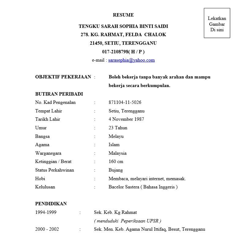 3 Contoh Resume Terbaik [Muatturun & Edit] Resume, Edit