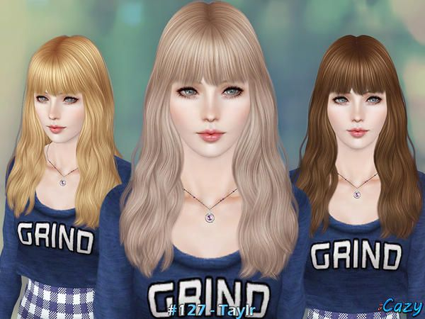 Cazy S Taylr Hairstyle Set Sims Hair Hairstyles With Bangs Womens Hairstyles