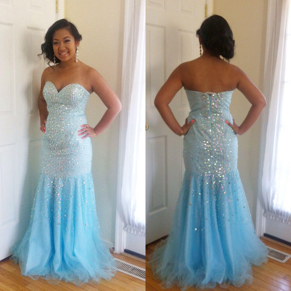 Aqua mermaid Terani prom dress 2014 and side bun updo hairstyle ...