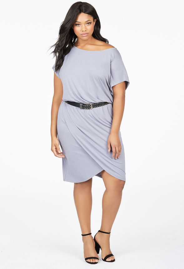 b2be3e1cb25f9 Slouchy Off Shoulder Wrap Dress in Quicksilver - Get great deals at JustFab