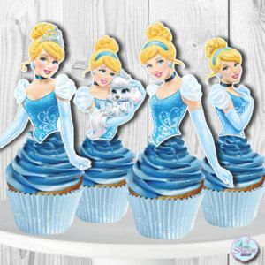 Printable CINDERELLA Cupcake Toppers Cupcake Picks INSTANT