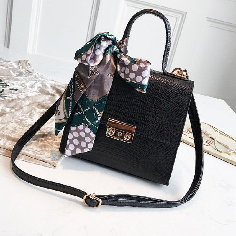 236e4acab550 Black Flap Snake Skin Faux Leather Handbags with Scarf