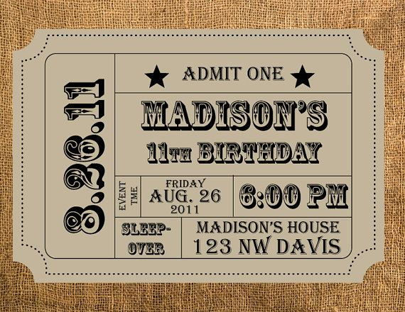 Personalized Birthday Party Invitation \/\/ invitations \/\/ ticket - admit one ticket template