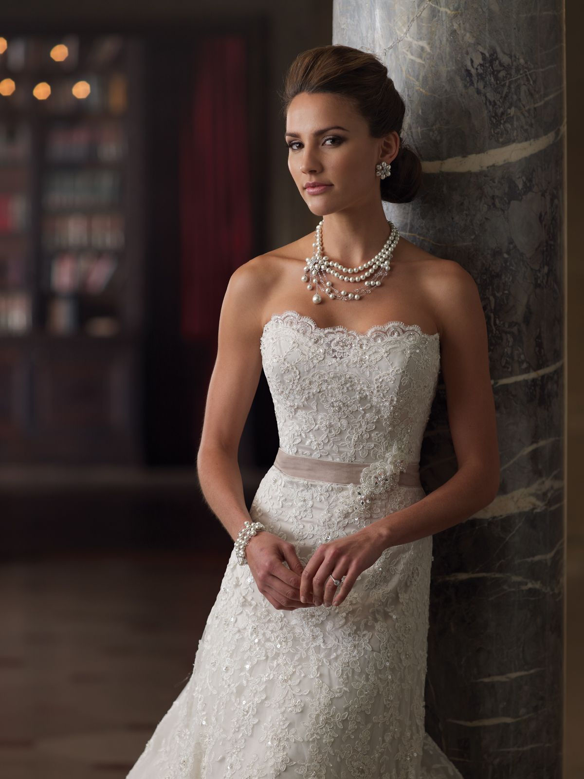 Style 213261 Charlene Is A Beautiful Lace Strapless Aline Wedding Dress Designed By David
