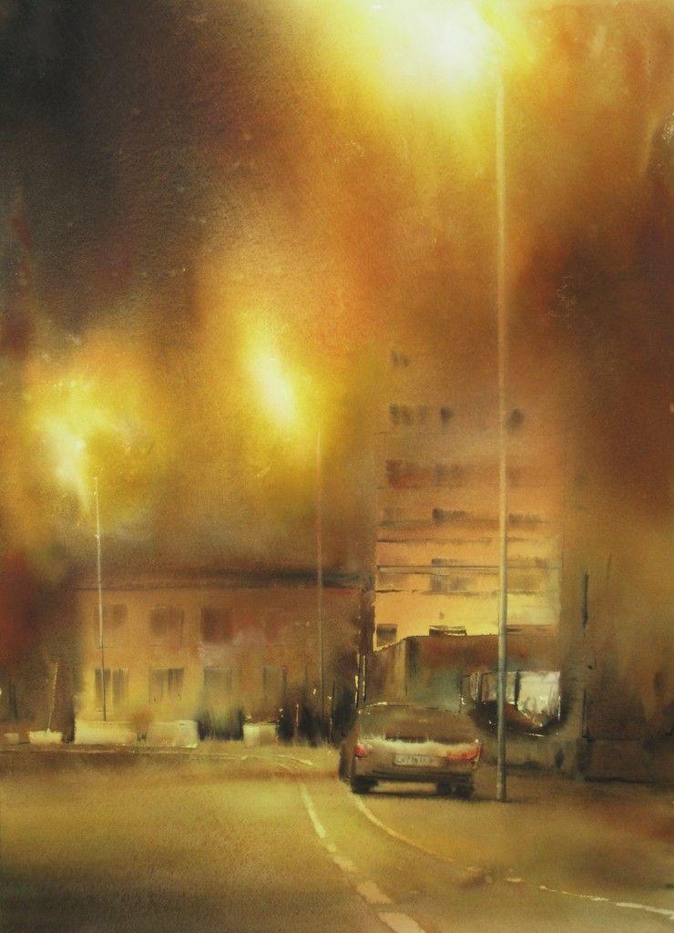 Ville La Nuit Marek Langowski Ville Nuit Nuit Peinture