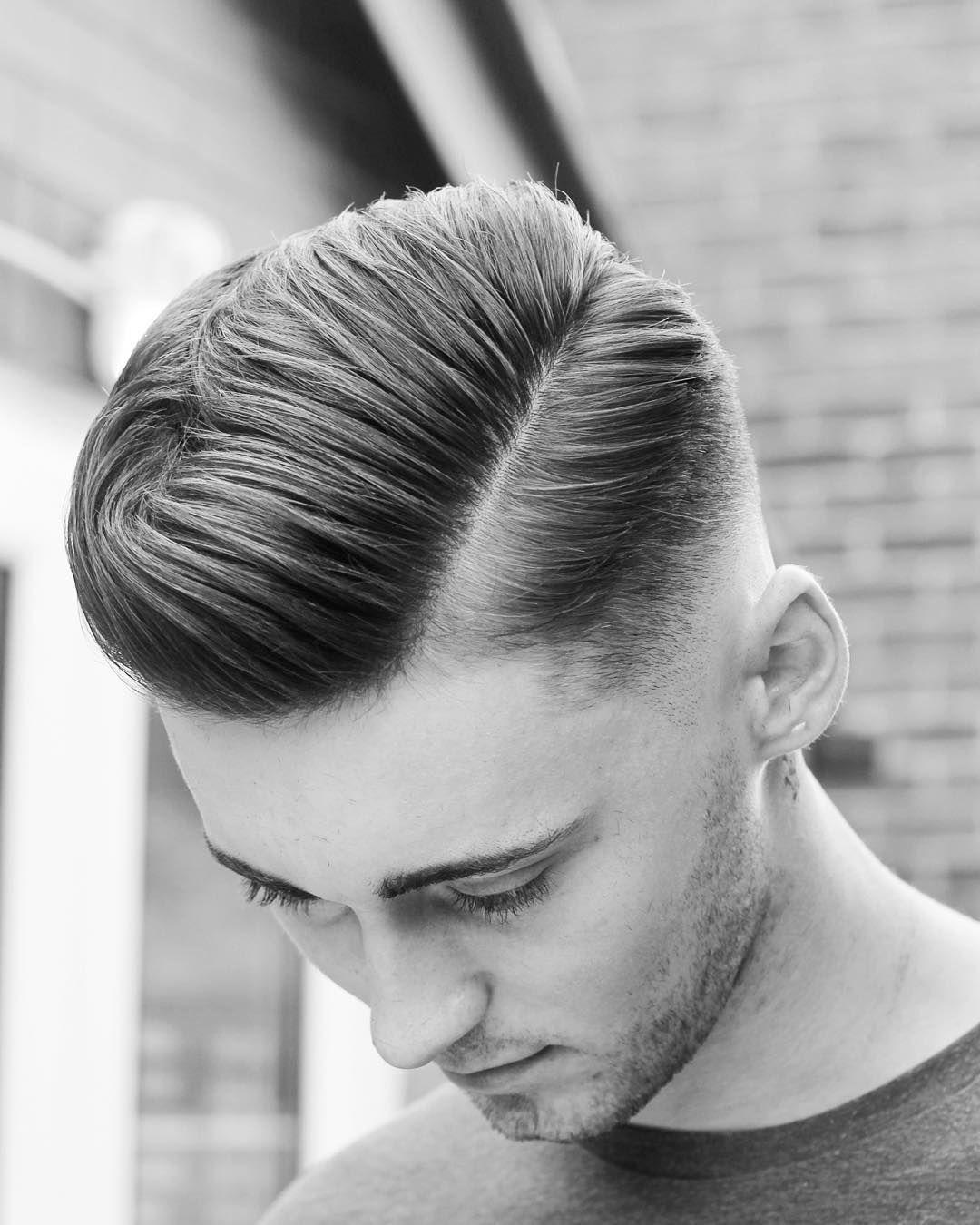 Men's hard part haircut barber beard hair  near beard  pinterest  metals thanks and barbers