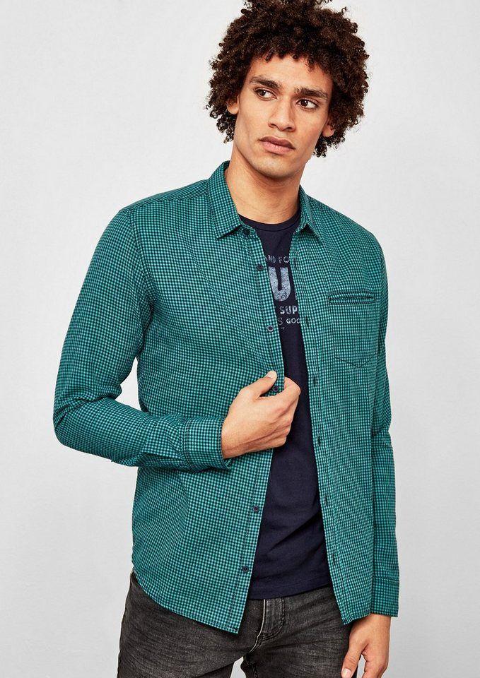 Q/S designed by Extra Slim: Kariertes Hemd für 39,99€. Mit Vichykaros, Modischer New Kent-Kragen, Eine Brustleistentasche, Ärmel mit Manschettenabschluss bei OTTO