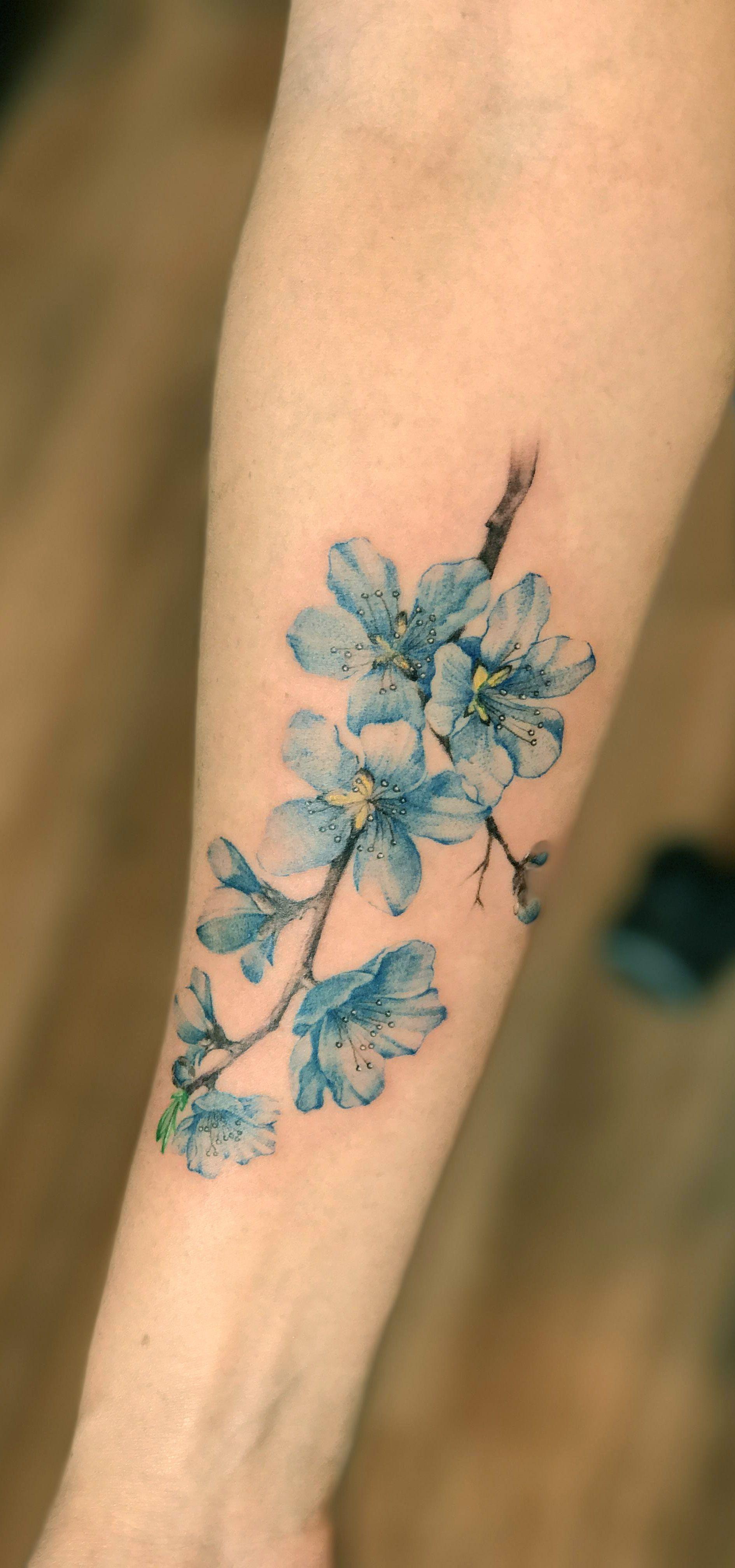 Blue Flowers Tattoo By Jay Shin Black Fish Tattoo Nyc Flowers