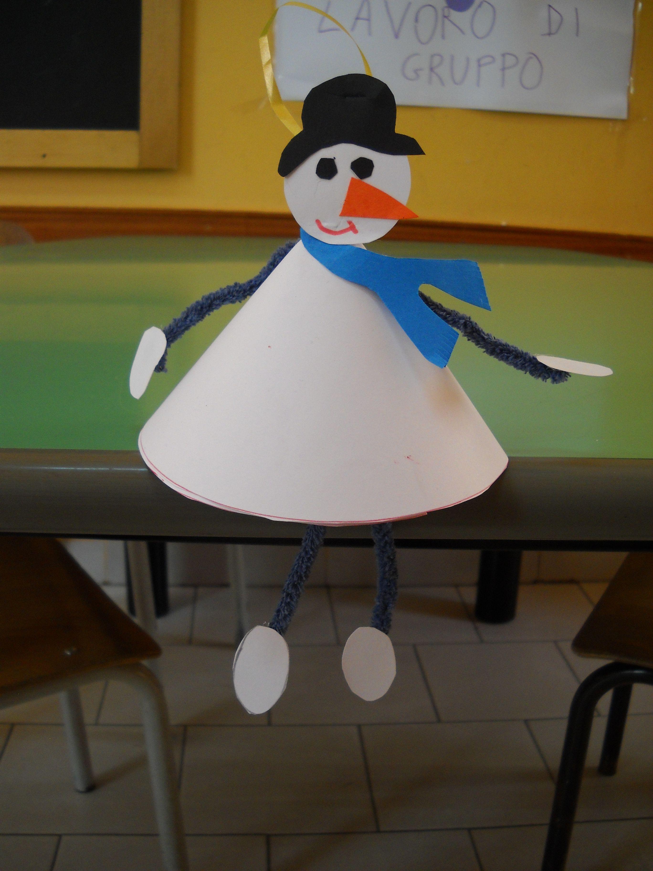 Pupazzo di neve con un piccolo cono