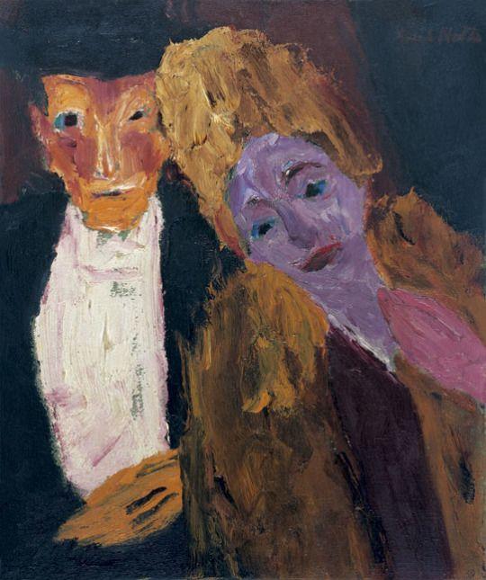 Emil Nolde (1867–1956) Gentleman and lady (Lady with fur) (Herr und Dame (Dame mit Pelz)), 1918 oil on canvas, 78 x 65 cm