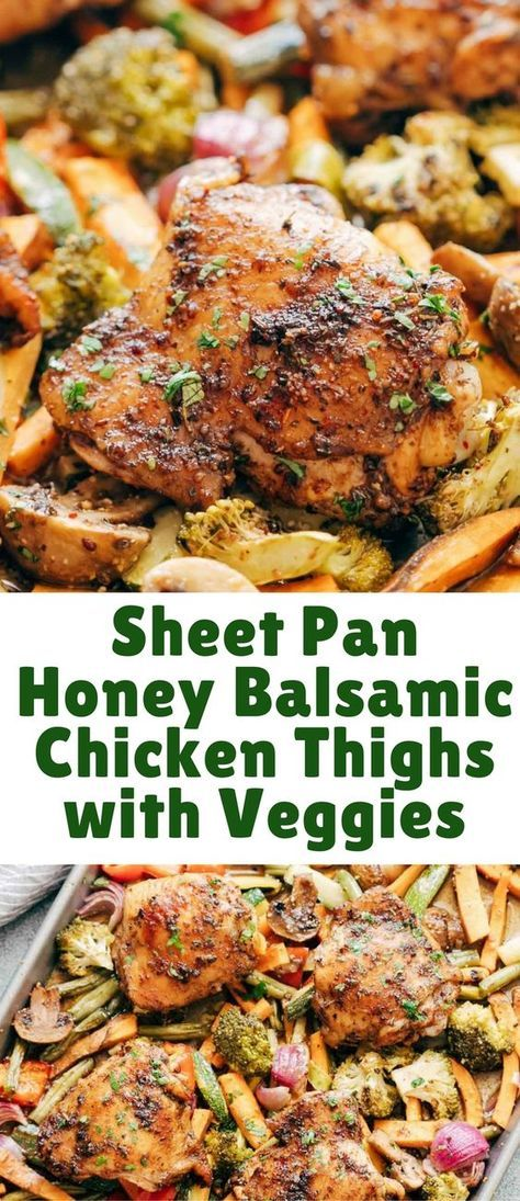 Sheet Pan Honey Balsamic Chicken Thighs with Veggies is the perfect way to get dinner on the table fast! Everything comes together in one sheet pan and is baked till the chicken is crispy and golden with a finger licking honey balsamic marinade. #onepandinnerschicken