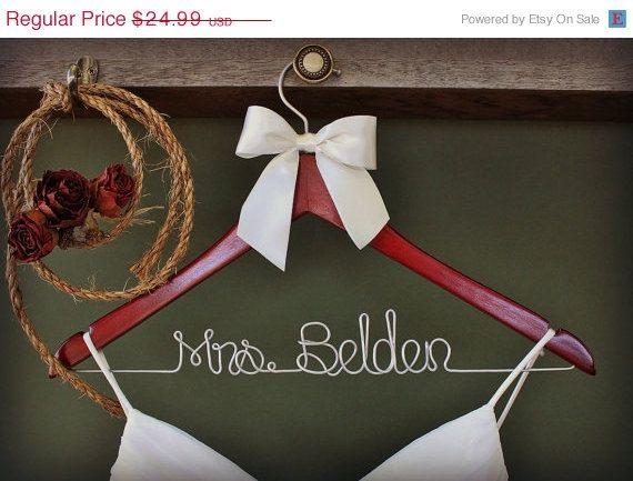 ON SALE Wedding Dress Hanger, Personalized Bridal Hanger, Custom Wire Name Hanger, Bridal Gift