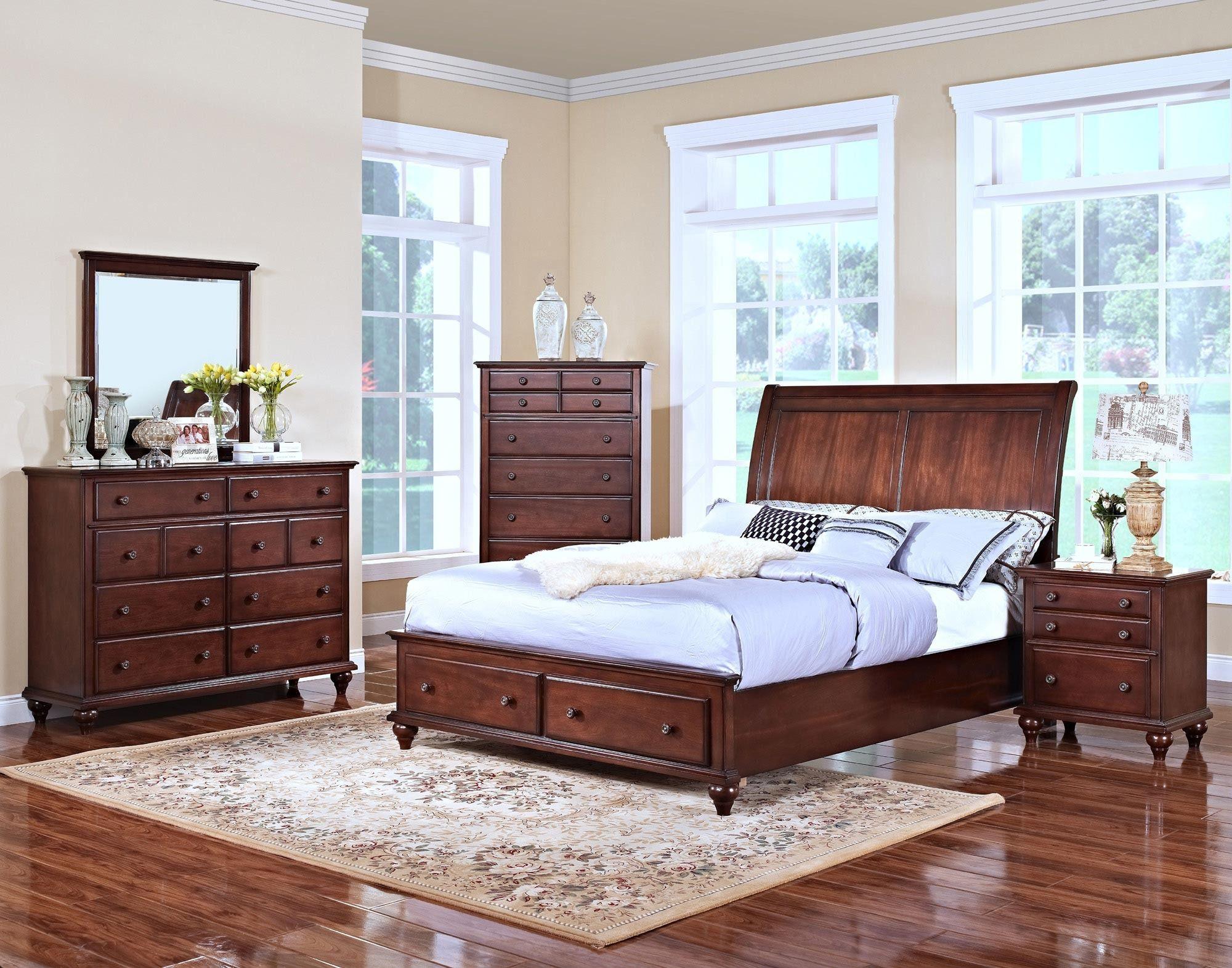 Spring Creek Sleigh Storage Bedroom Set New Classic