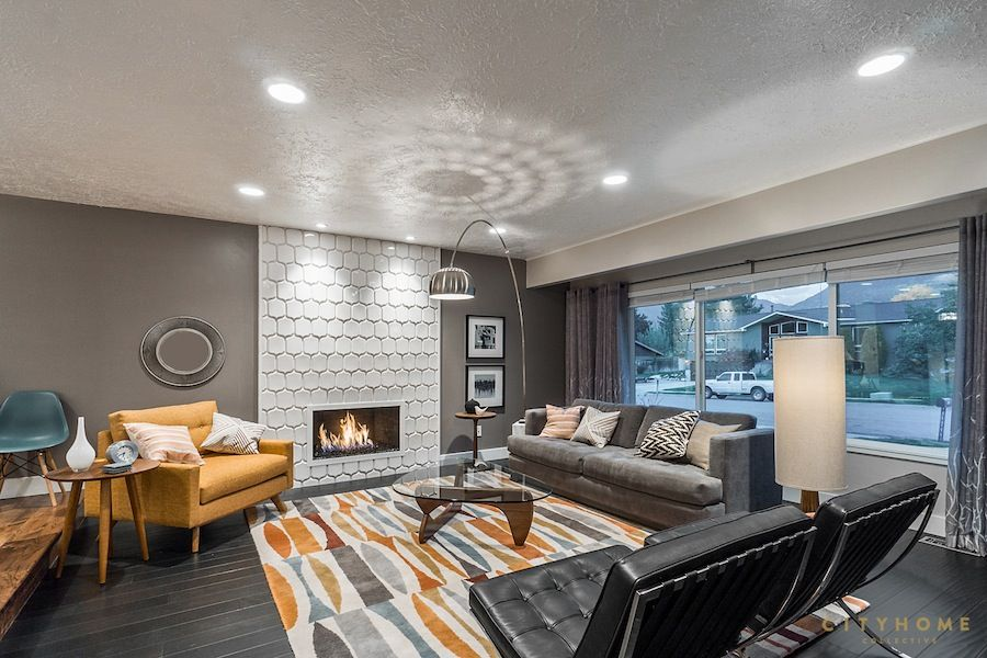 Cottonwood Heights | modern, grey, home design, living space, fireplace