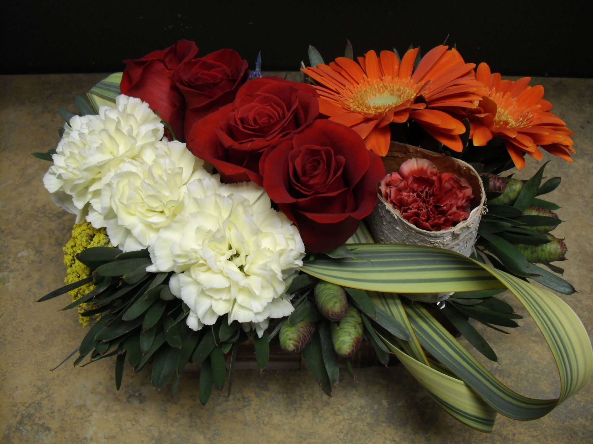 Orange Red And White Flower Arrangement For Wedding And Events