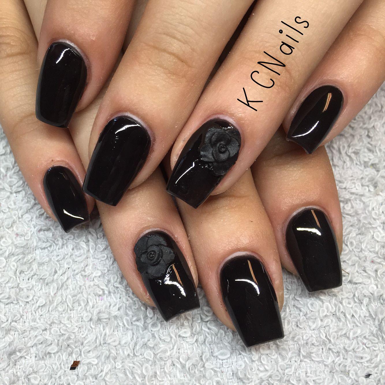 Solid black coffin nails Matte black 3D acrylic rose KCNails | Nail ...