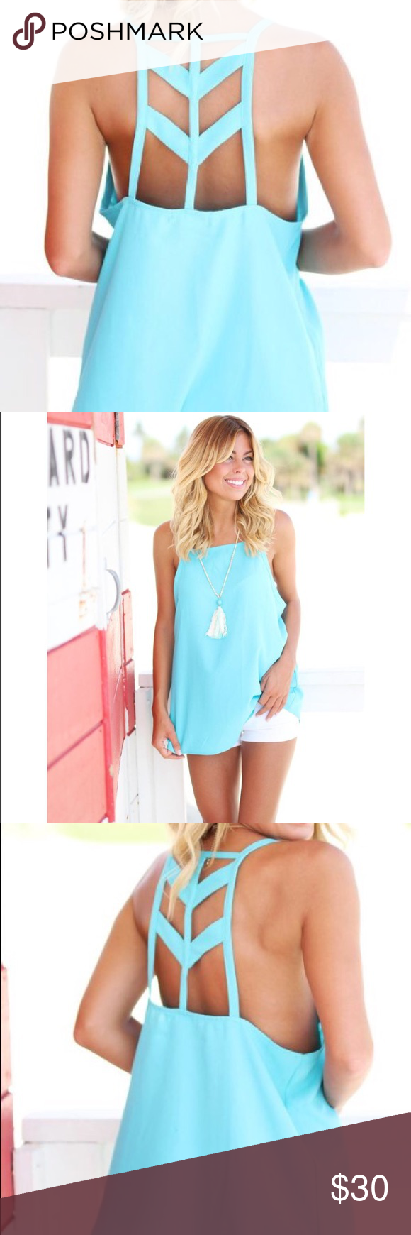 """NWOT Aqua Cut Out Back Top *New Without Tags simply because it was shipped without tags *Never Been Worn Size Medium Fits true to size in bust area Length is 23"""" 100% Polyester Super cute back cut out detail Perfect top to wear at the beach!! ✅Ⓜ️ercari Tops Tank Tops"""