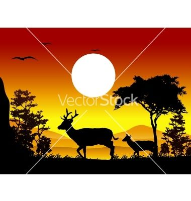 Deer silhouettes with landscape background vector 1002238 - by ayoeb on VectorStock®