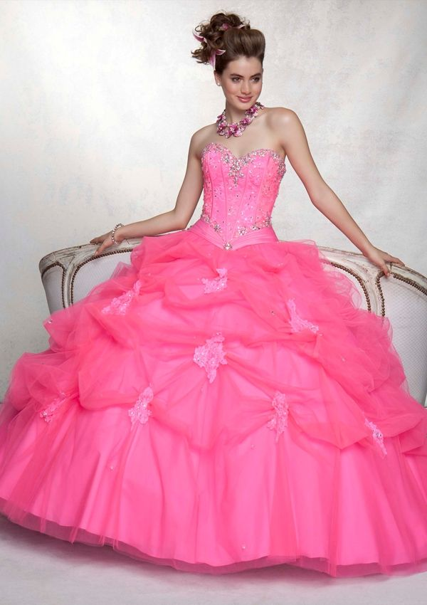 Long strapless pink dress with crystal bodice accents & tulle skirt ...