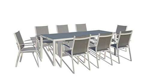 UrbanFurnishingnet  9 Piece Modern Outdoor Patio Dining Set  White  Gray ** Visit the image link more details.