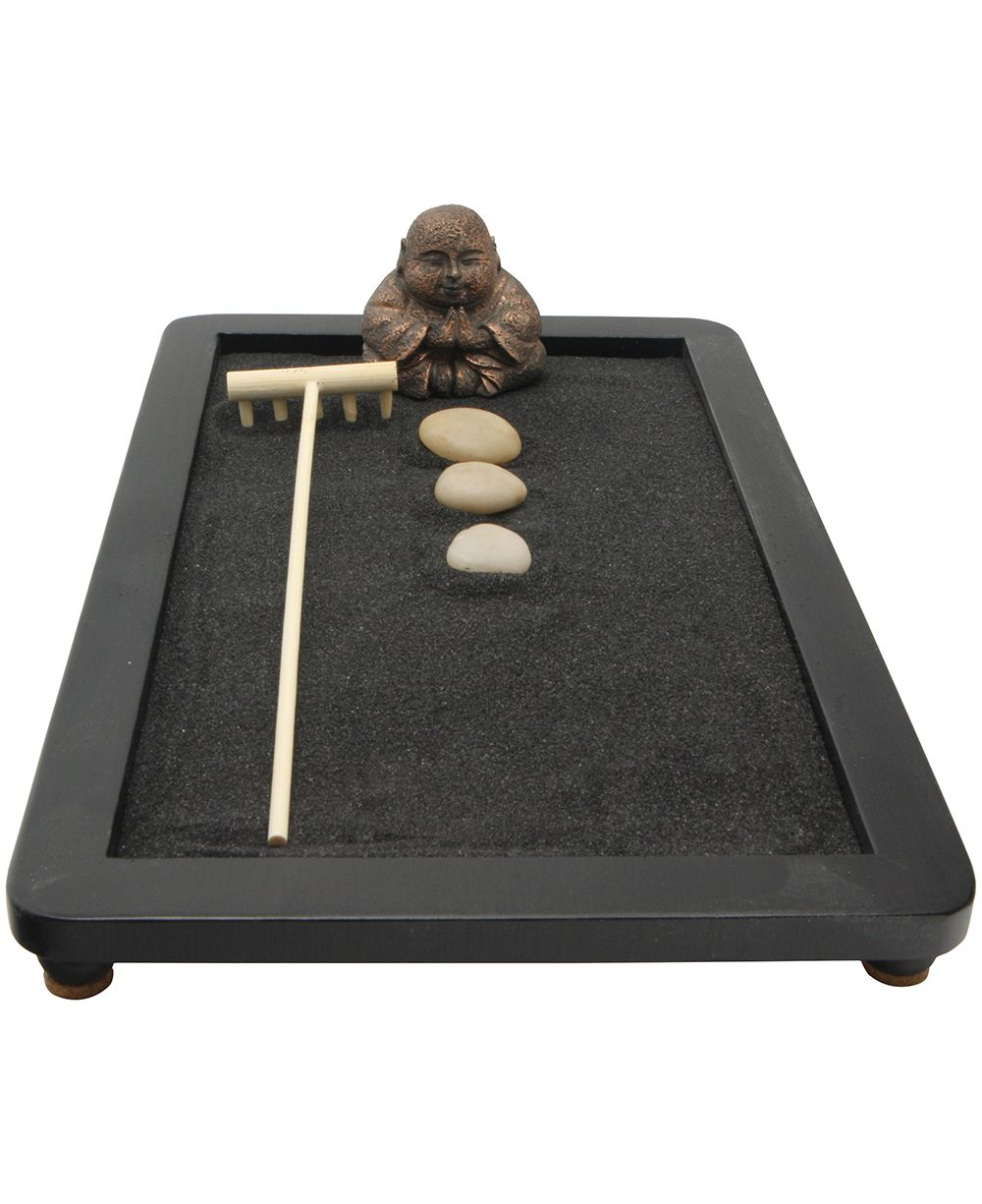 Tabletop Happy Buddha Zen Garden With Black Sand Mini Zen Garden Miniature Zen Garden Zen Garden