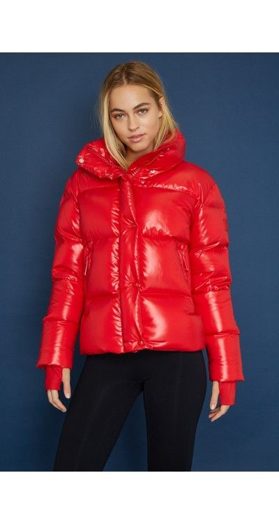 76f5675b20e This Andi Jacket from Sam is the cherry on top of winter. A shiny red  puffer jacket with warm dow.