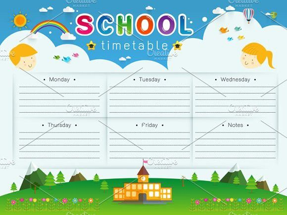 School Timetable, Schedule,Weekly  Creative Card Templates $500 - timetable template