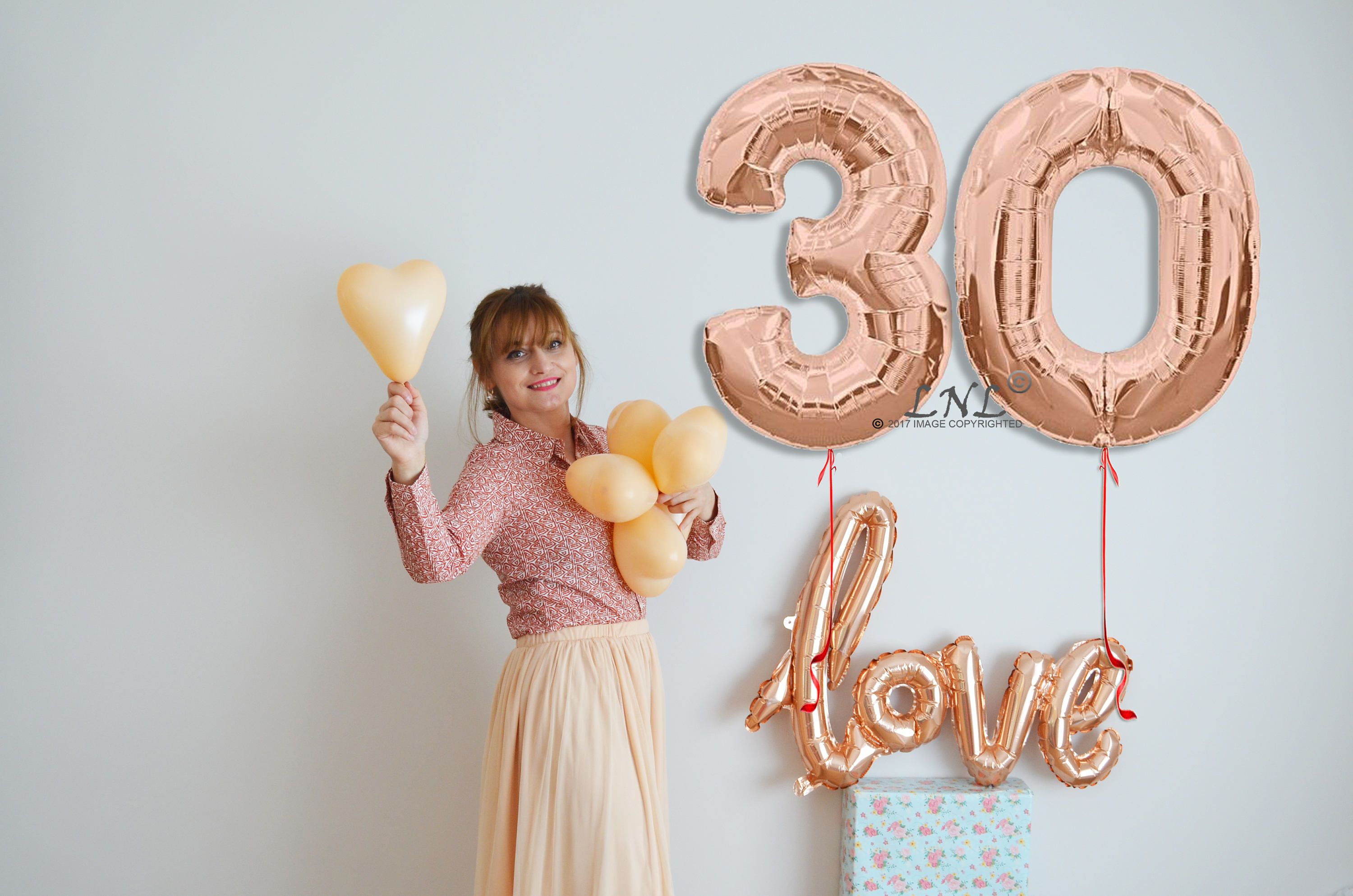 Rose Gold Number Balloons Age Party Custom Happy 30 Anniversary 34 Copper Birthday From OutOfMyBubble