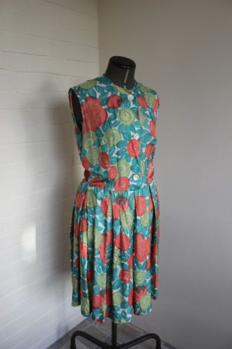 Vintage 1950s/60s cool rayon handmade green and orange printed dress | eBay