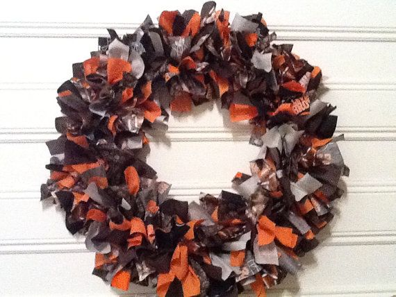Photo of Cleveland Browns Fabric Wreath on 18 inch wire frame