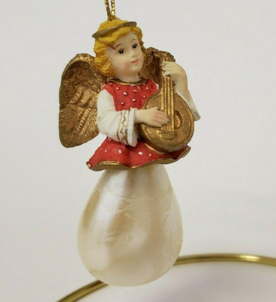 Ceramic angel playing a lute Love angel ornament  playing a lute love angel love ornament ceramic angel ornament
