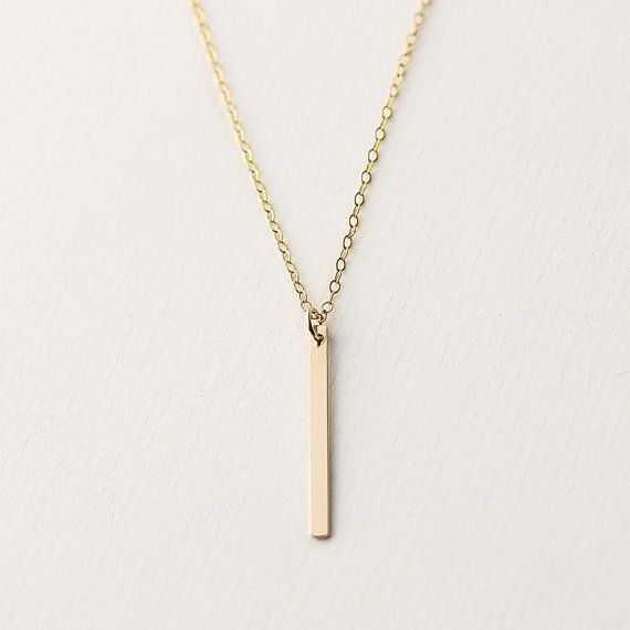 Gold Line - 14k gold filled bar necklace - vertical bar necklace - minimal gold bar jewellery