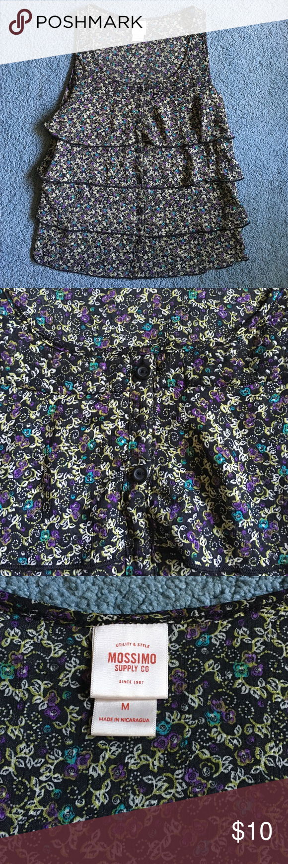 Floral top Sheer material. Never worn. Pleated. Sits right about pant line. Mossimo Supply Co Tops Crop Tops