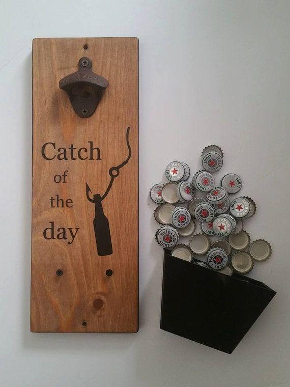 fishing gifts wooden wall mount bottle opener fishing wall decor