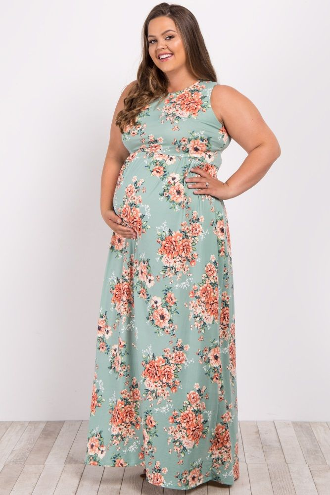 2635a5939b Mint Green Floral Sleeveless Plus Maternity Maxi Dress Floral Maternity  Dresses