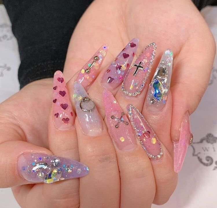 Shared By Yume Find Images And Videos About Pink Kawaii And Glitter On We Heart It The App To Get Lost In What Kawaii Nails Swag Nails Pretty Acrylic Nails