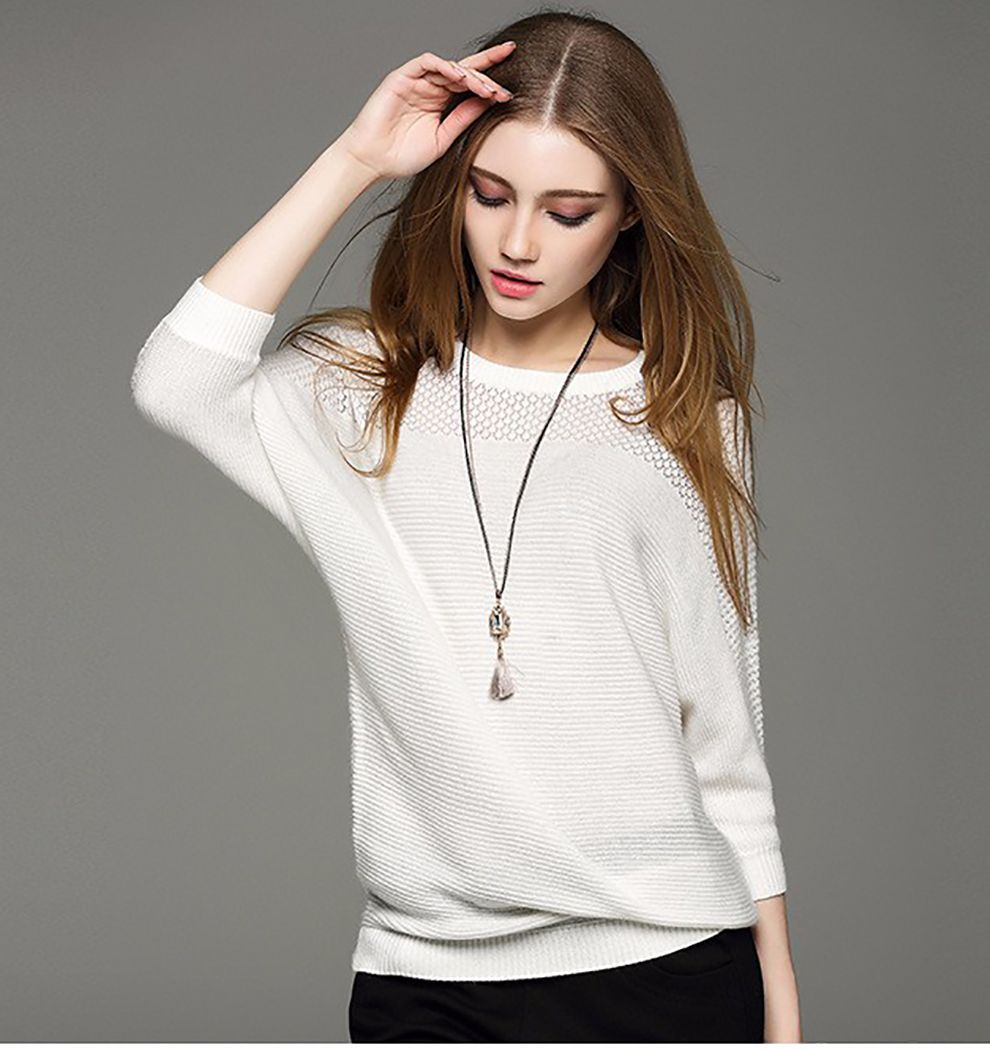 Women's Spring round neck Cotton Sweater Large size women's ...