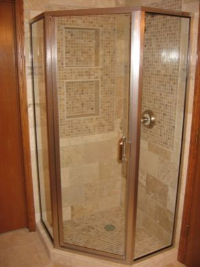 Semi Frameless Neo Angle Shower Enclosure With 6u201d Pull Handle. Brushed  Nickel Hardware And