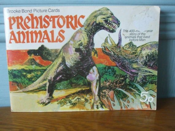 Brooke Bond Picture Cards 1972 Prehistoric Animals Complete Set of 50 Cards In Album Oxo Tea Vintage #prehistoricanimals