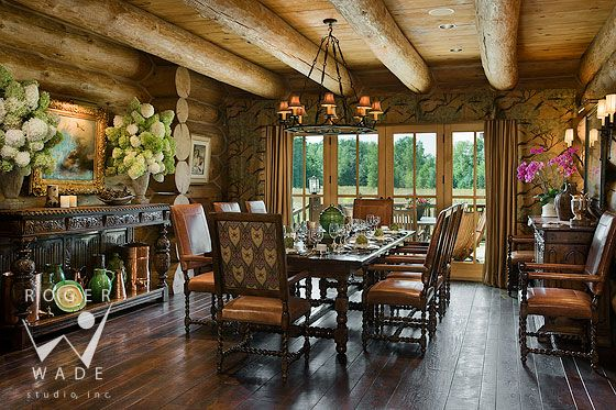 Roger Wade Studio Interior Design Photography Of Luxury Handcrafted Log Home  Dining Room, Private Cabin, Lakeside, Michigan, By Cannon Frank Interiors
