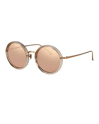 e7b72c1e8 Trimmed+Round+Mirrored+Sunglasses,+Rose+Gold +by+Linda+Farrow+at+Neiman+Marcus.