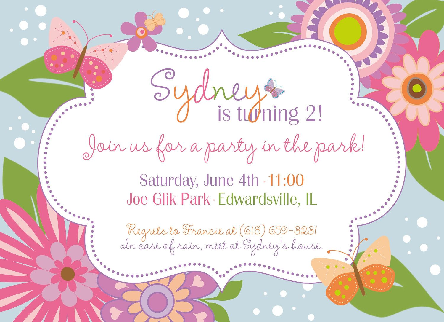 Flowers and Butterflies Garden Party Custom Printable Birthday – Flower Party Invitations