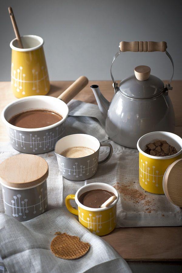 Miss Print Enamel Muscat patterned mugs, £12.50 each, enamel stove ...