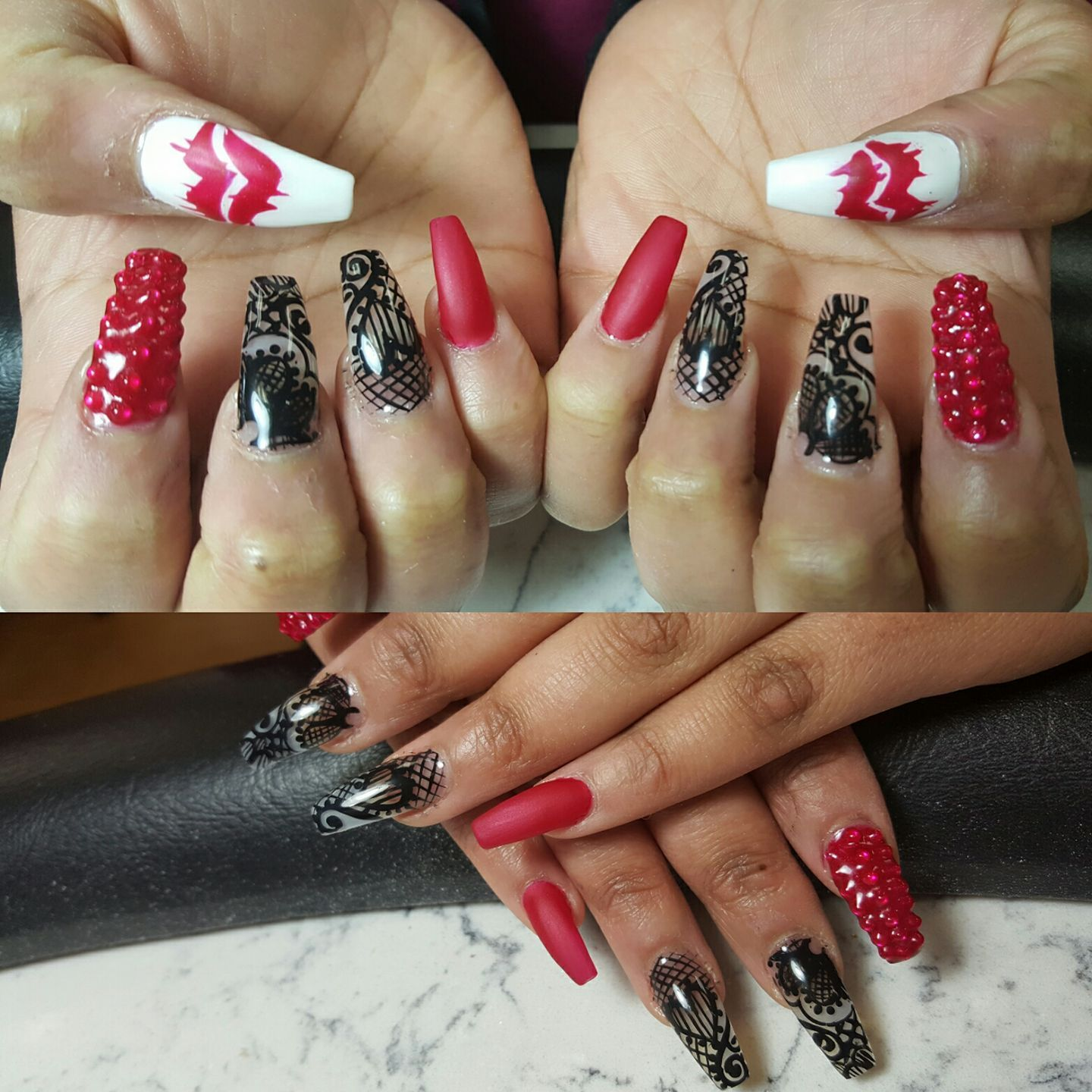 coffin shape nail designs, red nails, black and nude nails, white ...