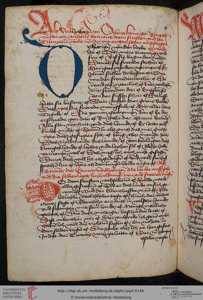 Cod. Pal. germ. 4 Rudolf von Ems: Willehalm von Orlens ; Dietrich von der Glesse: Der Gürtel (Borte) ; Peter Suchenwirt: Liebe und Schönheit u.a. — Schwaben/Grafschaft Oettingen (?), 1455-1479 83v